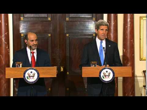 Secretary Kerry Delivers Remarks With Syrian Opposition Coalition President al-Jarba