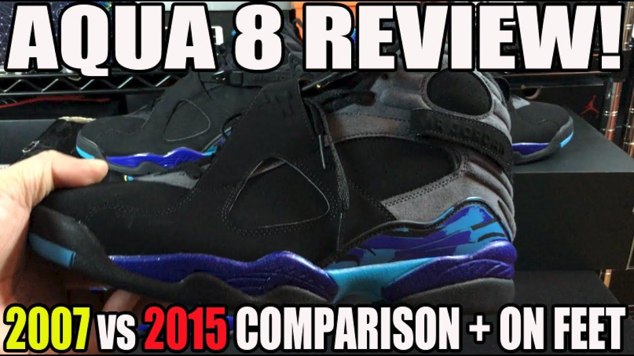 6210623341f299 Aqua  Air Jordan 8 Retro 2007   2015 Review Comparison w On Feet ...