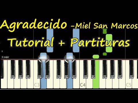 AGRADECIDO Miel San Marcos Piano Tutorial Cover Facil + Partitura PDF Sheet Music Easy Midi thumbnail