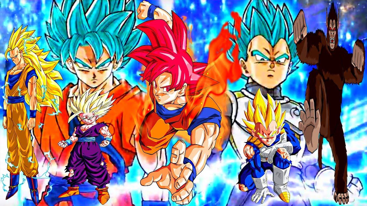 All Canon Dragon Ball Saiyan Forms ドラゴンボール超 - YouTube