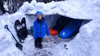 Survival Shelter Winter Camping in Blizzard - Deep Snow Camping in Alaska