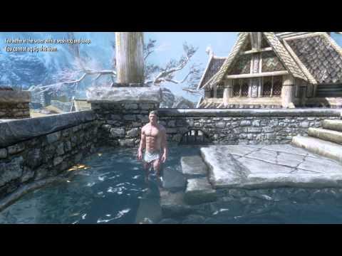 Skyrim Mod - Drink, Eat, Sleep, Bathe (Bathing Animation)