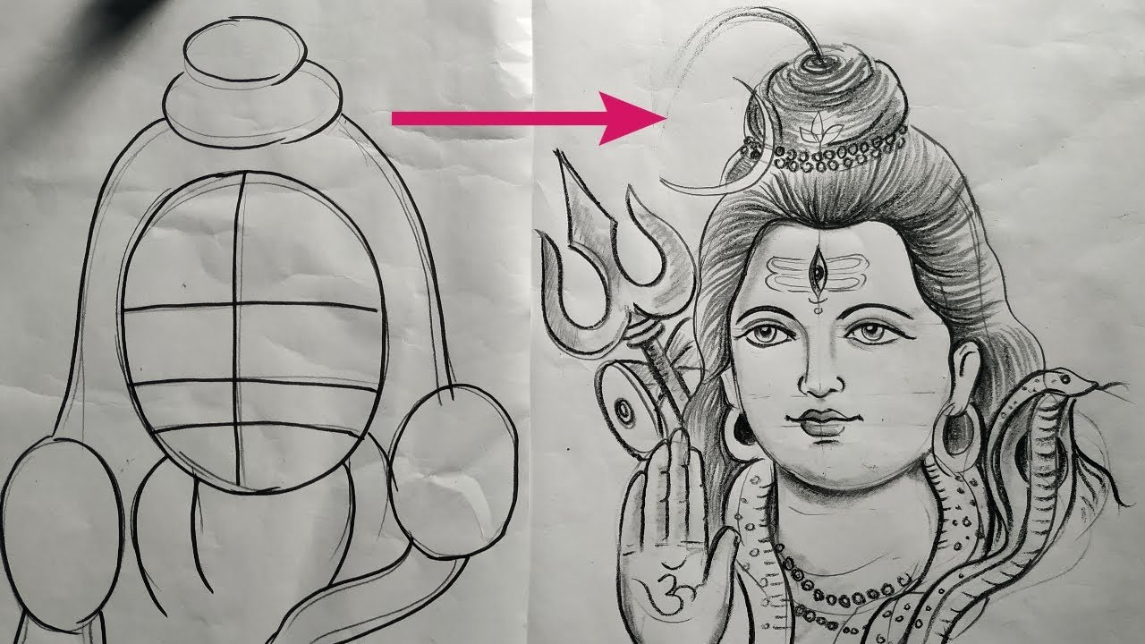 How To Draw Loord Shiva With Snake By Pencil Sketch Shiv Thakur