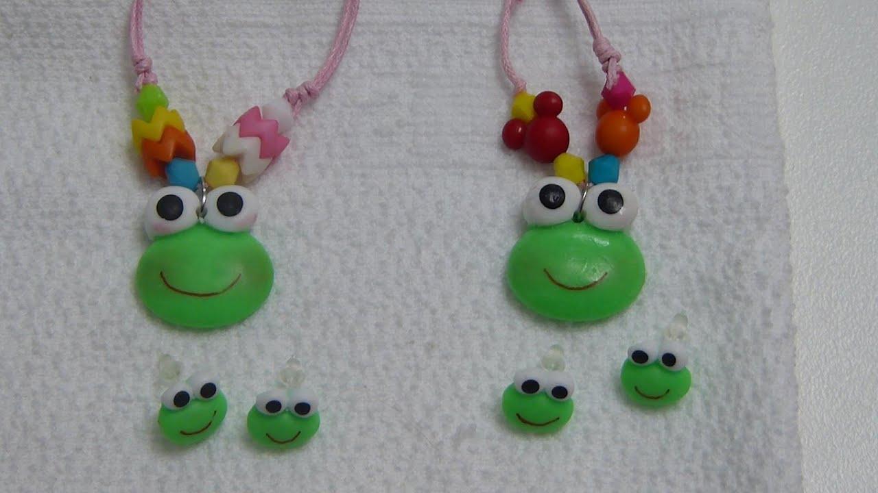 Carita de Sapitos en Porcelanicron decor accesorios para el cabello o collares de Niña.