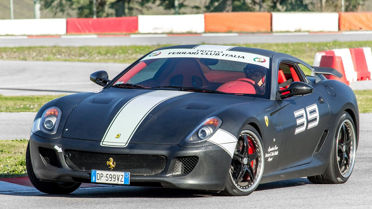 Carbon ferrari 599 gtb fiorano hgte review start up and laps on track 2016 hq