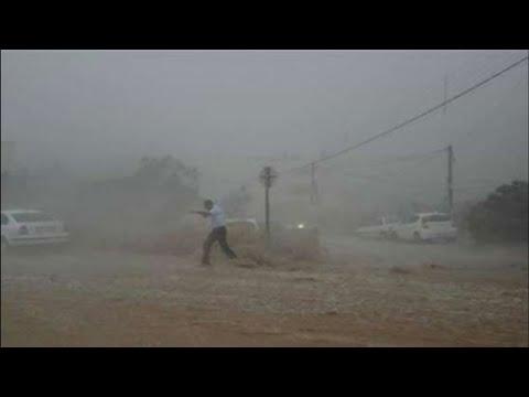 عاصفة أمطار قوية وسيول جارفة تجتاح مدينة الطائف ! السعودية