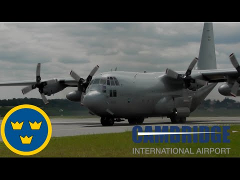 Swedish Air Force 846 C 130H Departure at Cambridge Airport