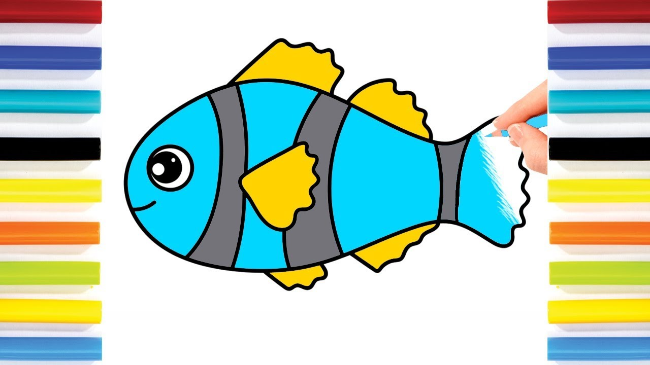 How To Draw Colorful Fish Drawing And Colours For Children S With Colored Markers