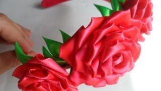 hand made Как сделать розу Канзаши_rose kanzashi