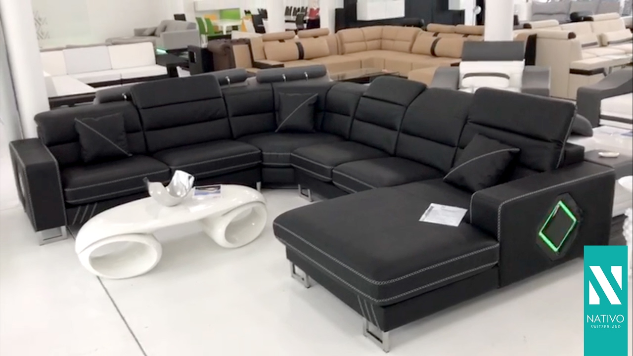 nativo m bel schweiz designer sofa gregory xxl mit led beleuchtung youtube. Black Bedroom Furniture Sets. Home Design Ideas