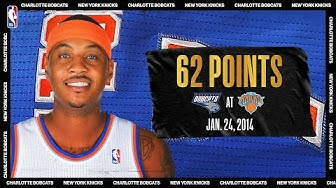 Bobcats @ Knicks: Melo's 62 PTS set Knicks and MSG records (Jan. 24, 2014) #NBATogetherLive