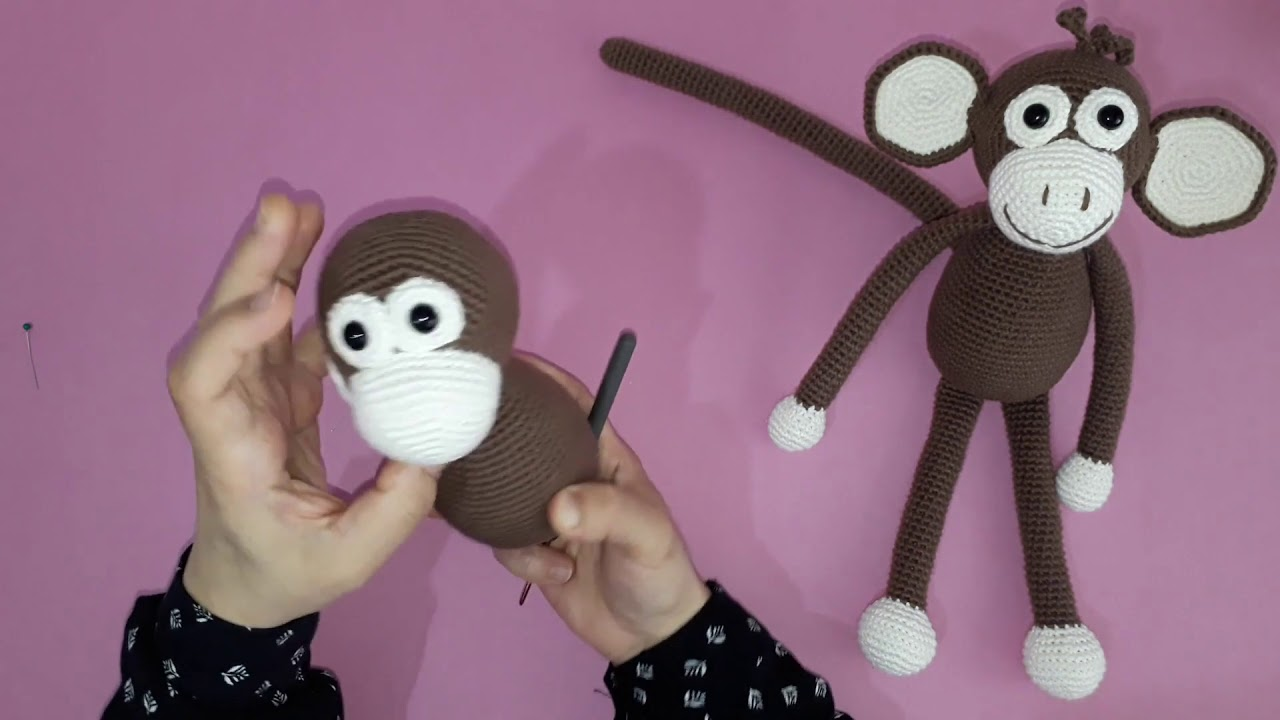 Amigurumi maymun yapımı örgü oyuncak maymun yapılışı amigurumi maymun birleştirme yapımı -10