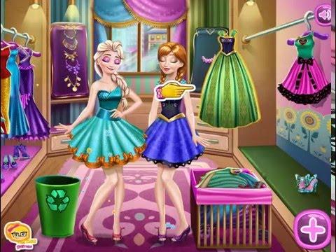 Мультик игра Эльза и Анна убирают в гардеробе (Anna and Elsa Wardrobe Cleaning)
