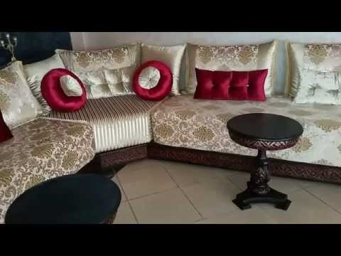 design salon marocain 2016 youtube - Modele Salon Rouge