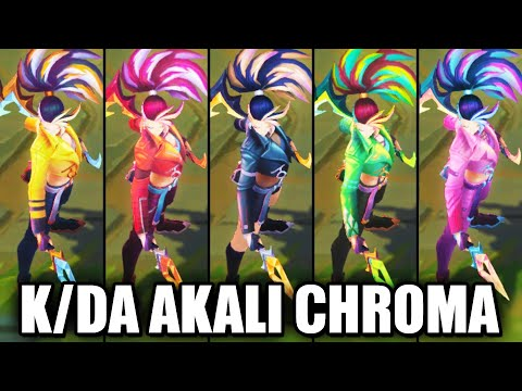 All KDA ALL OUT Akali Chroma Skins Spotlight - Baddest Exclusive (League of Legends)