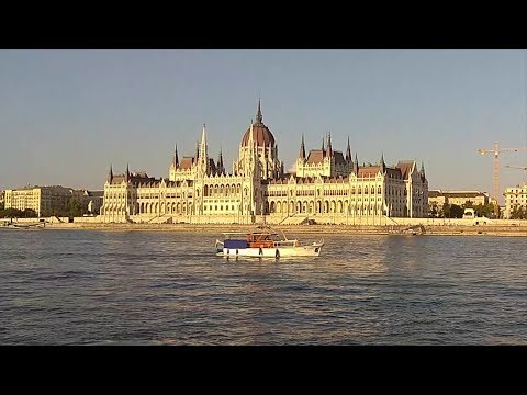Boating on the river Danube in Budapest by public transport boat