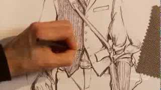 How to hand render a herringbone pattern on a stylish men