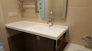 Обзор установленной столешницы в ванную с раковиной и подворотом из камня