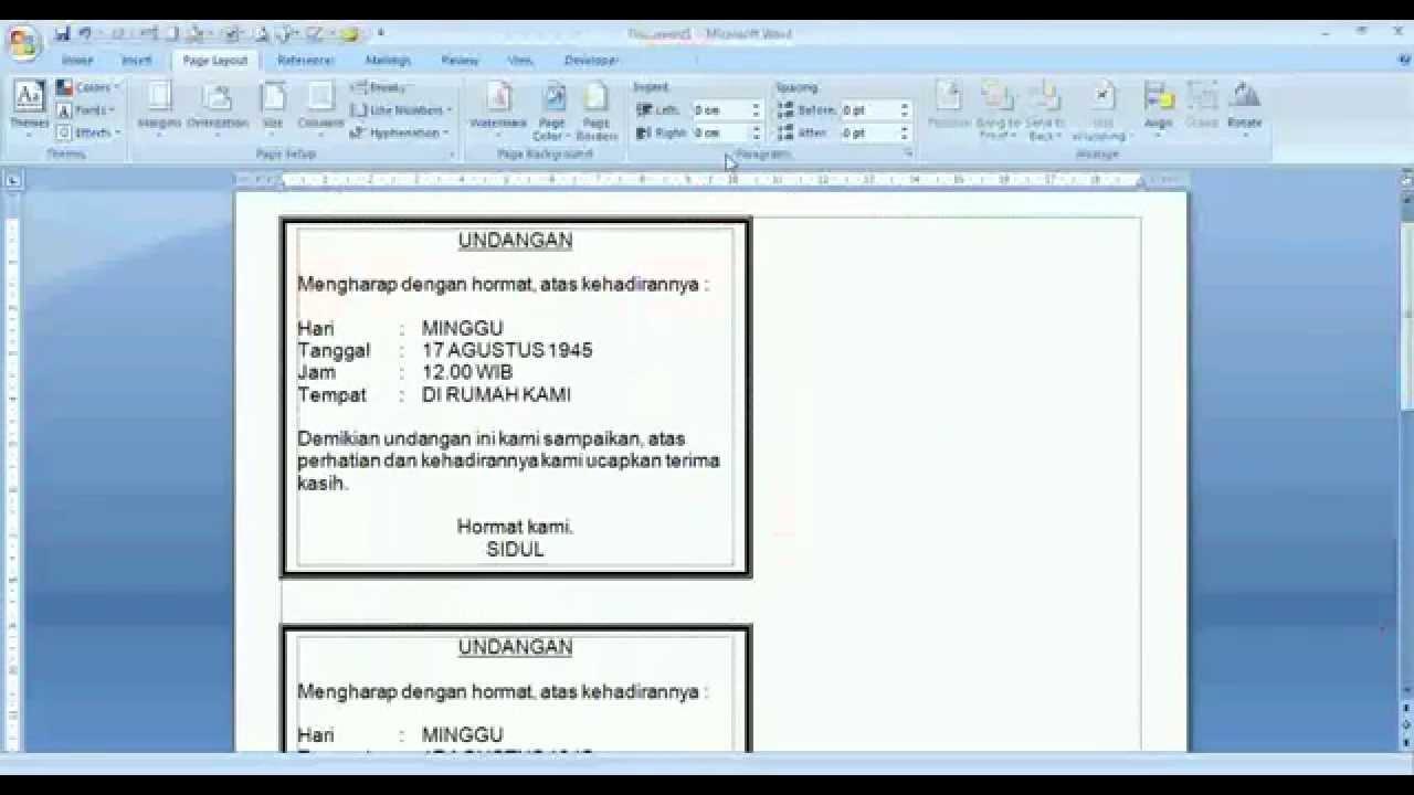 Trik Cara Cepat Dan Mudah Membuat Undangan Sederhana Di Word 2007
