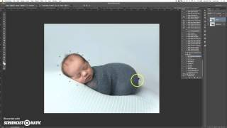 Newborn photography -using the puppet warp tool, liquify tool