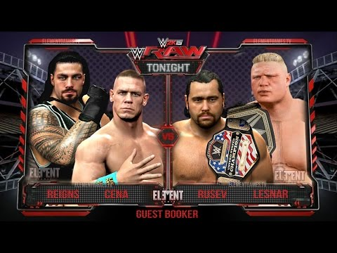WWE 2K15 RAW : John Cena & Roman Reigns vs Brock Lesnar & Rusev - 16/03/15 (Guest Booker): WWE RAW 2K15 : John Cena & Roman Reigns vs Brock Lesnar & Rusev - 16/03/15 (Guest Booker)  The Following is a match is put together with WWE 2K15 for the PS4. This is a guest booked WWE RAW 2015 main event based on the current feuds in place on WWE RAW 2015, leading up to the Wrestlemania 31 event that will be live on the WWE Network,   If Brock Lesnar was more active on the main roster Then i would have booked this main event for the March 16th Episode of WWE RAW ( 03/16/15 ) which was the third show after the fast lane PPV and the mid point of the Wrestlemania 31 PPV build.   John Cena will face Rusev at Wrestlemania 31 for the US championship and Roman Reigns will face the WWE world heavyweight champion, the beast incarnate, Brock Lesnar in the main event, so this match makes perfect sense.  The reason Reigns was counted out was to protect him from looking weak. There is no way we could book Lesnar to lose in this situation so the ideal scenario would be to have the legal man Reigns fighting Lesnar on the outside, only to be counted out, thus eliminating him from the match.  This then meant that Lesnar and Rusev were now facing Cena in a 2 on 1 situation. Cena hit the AA on rusev and delivered the pinfall, sending a strong statement of intent to Rusev for wrestlemania. Remember Rusev is STILL undefeated in singles competition.  Lesnar is selfish and lets Rusev get pinned, he doesn't care for Rusev, he knows he can conquer John Cena alone. Once Rusev is out of the picture LEsnar steps into the ring to face Cena, Cena goes for the AA but misses and lesnar hits the F5 to end the match.  Series : Guest Booker Episode : #5 Running time : 08:09 Game : WWE 15  Music: Ross Bugden:  Title : Epic Chase Music - Run URL : https://www.youtube.com/watch?v=bs91NXzQtCY Channel : https://www.youtube.com/channel/UCQKGLOK2FqmVgVwYferltKQ Outro : http://www.youtube.com/teknoaxe  Social media:  Twitter : http://www.twitter.com/elementgamestv Facebook : http://www.facebook.com/elementgamestv  Thanks for watching my WWE RAW 2015 ( 16/03/15 ) Main Event Booking Concept Episode 5, as part of my WWE 2K15 guest booking series. I hope you enjoyed the video. If you have ideas for videos please leave them below!  Be sure to drop a sub for more daily WWE 2K15 content.