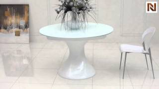 Savor Modern Round White Lacquer Dining Table Vggu2609xt-wht From Vig Furniture