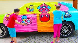 Али и Адриана раскрасили машину для мамы, истории для детей про машины
