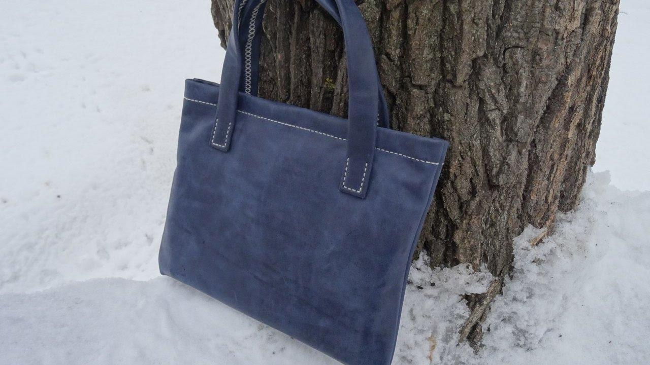Кожаная сумка с подкладкой и окантовкой. 1 Часть.
