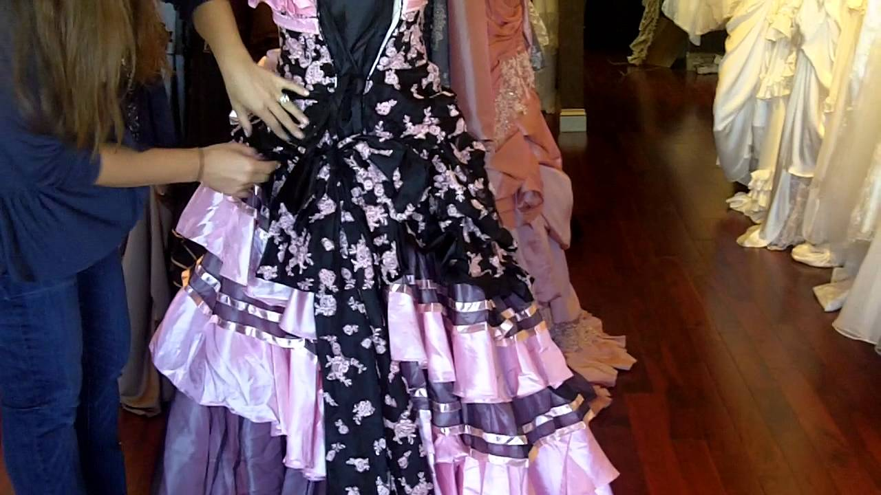 Pink Wedding Gown: Pink And Black Wedding Dress