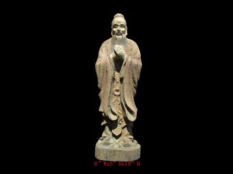 Chinese Antique Standing Confucius Wood Hand Carving Statue WK2879