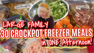 ✅ 30 LARGE FAMILY SLOW COOKER FREEZER MEALS IN ONE AFTERNOON! Large Family Freezer Meal Prep 🍽