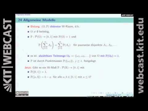 23: Chi-Quadrat-Test (Fortsetzung), exakter  Test von Fisher, allgemeine Modelle, Sigma-Algebren