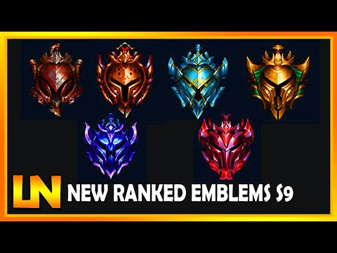 All New Ranked Emblems Icons For Season 9 League Of Legends 2018 S9 Youtube