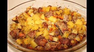 Картошка с Мясом в Духовке Простой рецепт Очень Вкусного картофеля с Мясом в Духовке