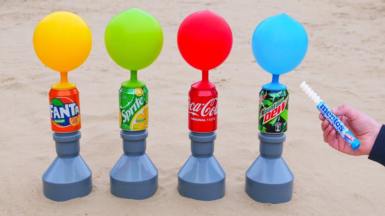 Experiment: Fanta, Sprite, Coca Cola, Mtn Dew vs Mentos Underground