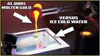 Pouring MOLTEN GOLD in WATER! 41,000$ GOLDBAR