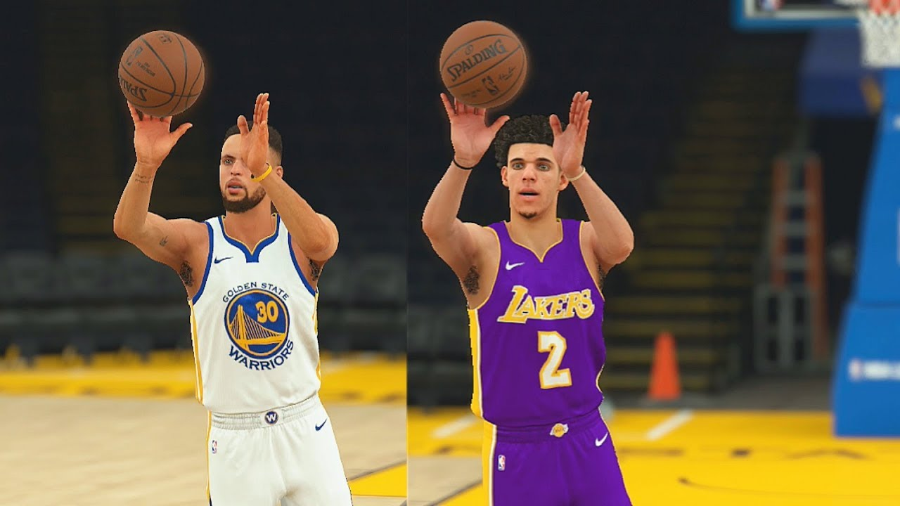 2594ab82ce33 Stephen Curry vs Lonzo Ball Half Court Shot Contest! NBA 2K18 Gameplay