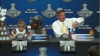 Jonathan Quick and daughter, Darryl Sutter post-game 6 presser 6/11/12