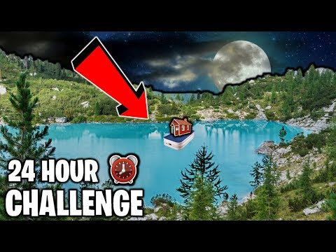 24 Hour Overnight Challenge in BOX FORT on LAKE