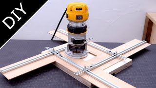 Ajustable router jig for square holes or recesses