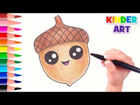 Как нарисовать орех карандашом поэтапно