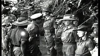 Lord Louis Mountbatten meets and talks enlisted men of 51st Brigade of 25th India...HD Stock Footage