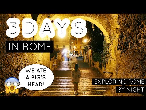 EUROPE TRAVEL VLOG #29: 3 days in Rome pt 3/4 - Rome by Night - We ate a Pig's Head!