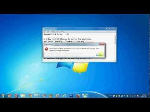 Unspecified Error Explorer.exe Windows 7