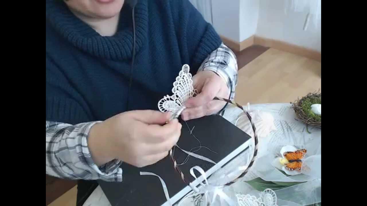 como hacer la diadema para comunion con mariposa encaje studio video