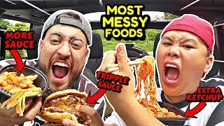 ORDERING THE MOST MESSY FOODS AT EVERY FAST FOOD RESTAUREANT IN MY BRAND NEW CAR !! (CAR REVEAL)