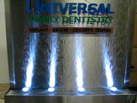 water feature dentist office stainless steel with logo water