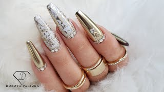 Gold chrome coffin nails. Fiber gel rebalance with Swarovski crystals. Nails trends