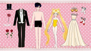 Paper dolls wedding dress Sailor Moon and Tuxedo mask papercraft Bride and Groom