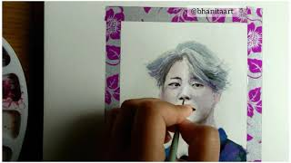 How to draw Jimin with watercolors - #LearningWithARMY